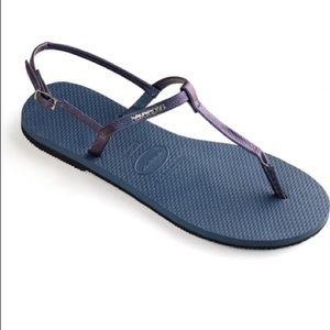 HAVAIANAS YOU RIVIERA T STRAP SANDALS BLUE 39/40